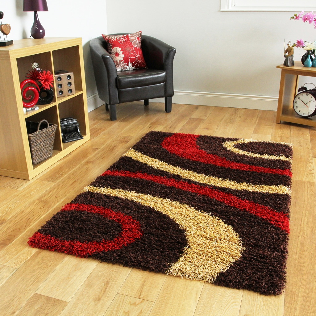 Small X Large Thick Soft Easy Clean Modern Rugs Chocolate Brown In Small Red Rugs (Image 15 of 15)