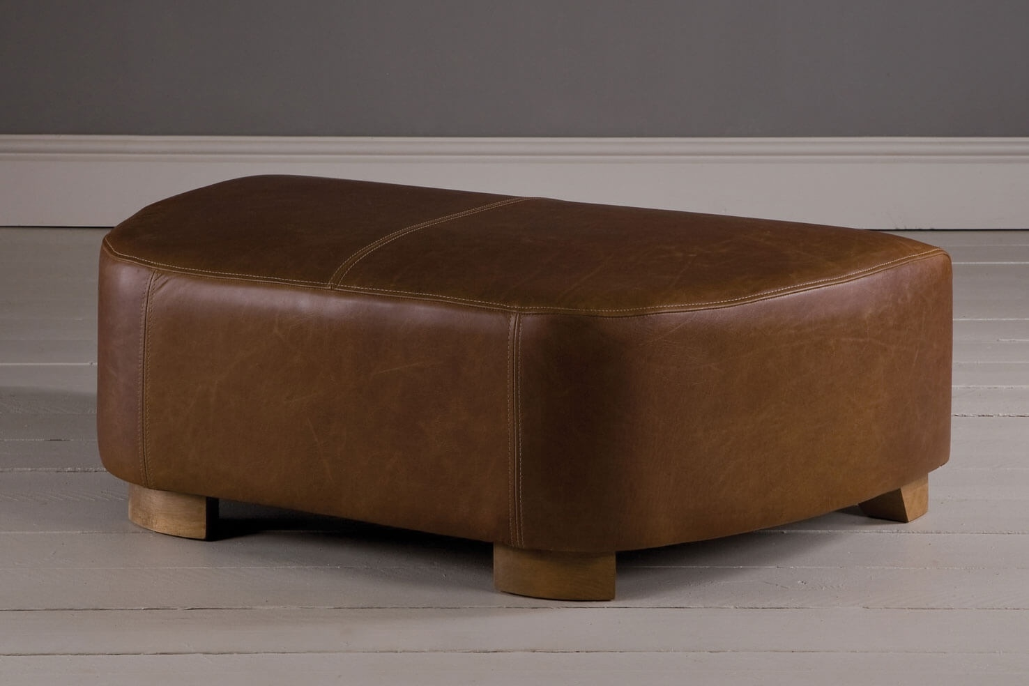 Snuggler Leather Footstool Handcrafted Indigo Furniture Throughout Leather Footstools (Image 11 of 15)