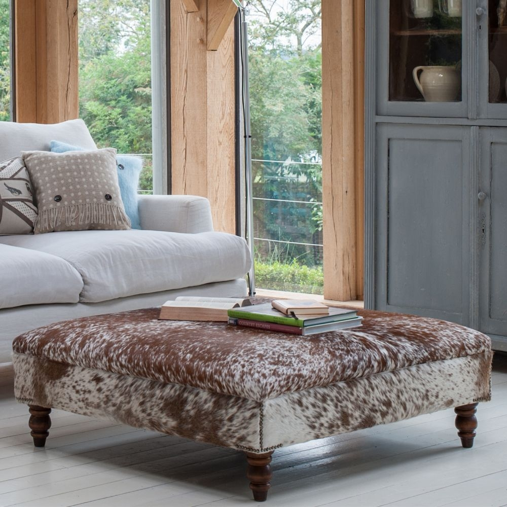 Sofa Large Upholstered Footstool Tartan Footstools Round Ottoman For Large Footstools (Image 14 of 15)