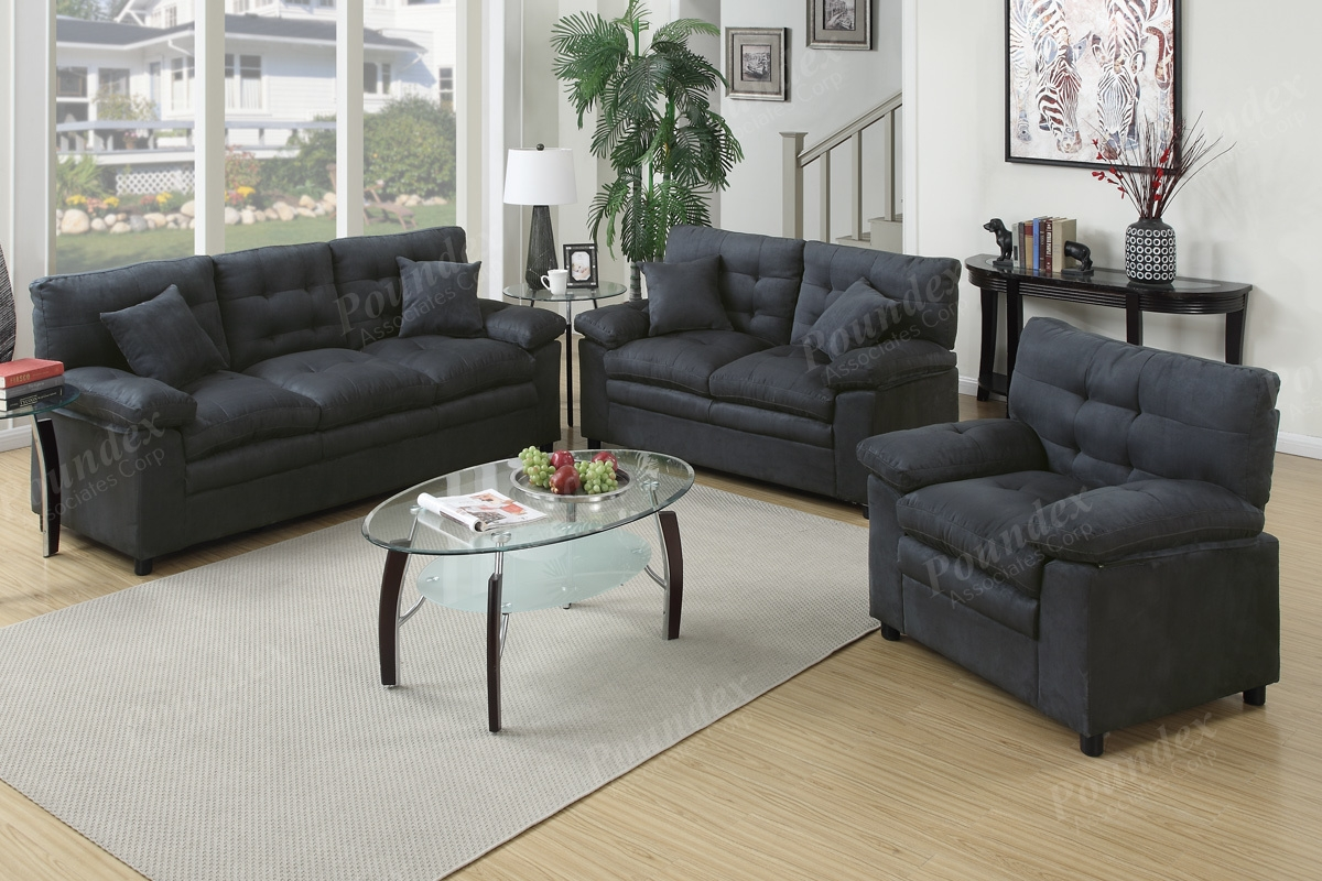 Sofa Loveseat Chair 3pc Sofa Set In 4 Colors Microfiber Living Intended For Sofa Loveseat And Chair Set (Image 14 of 15)
