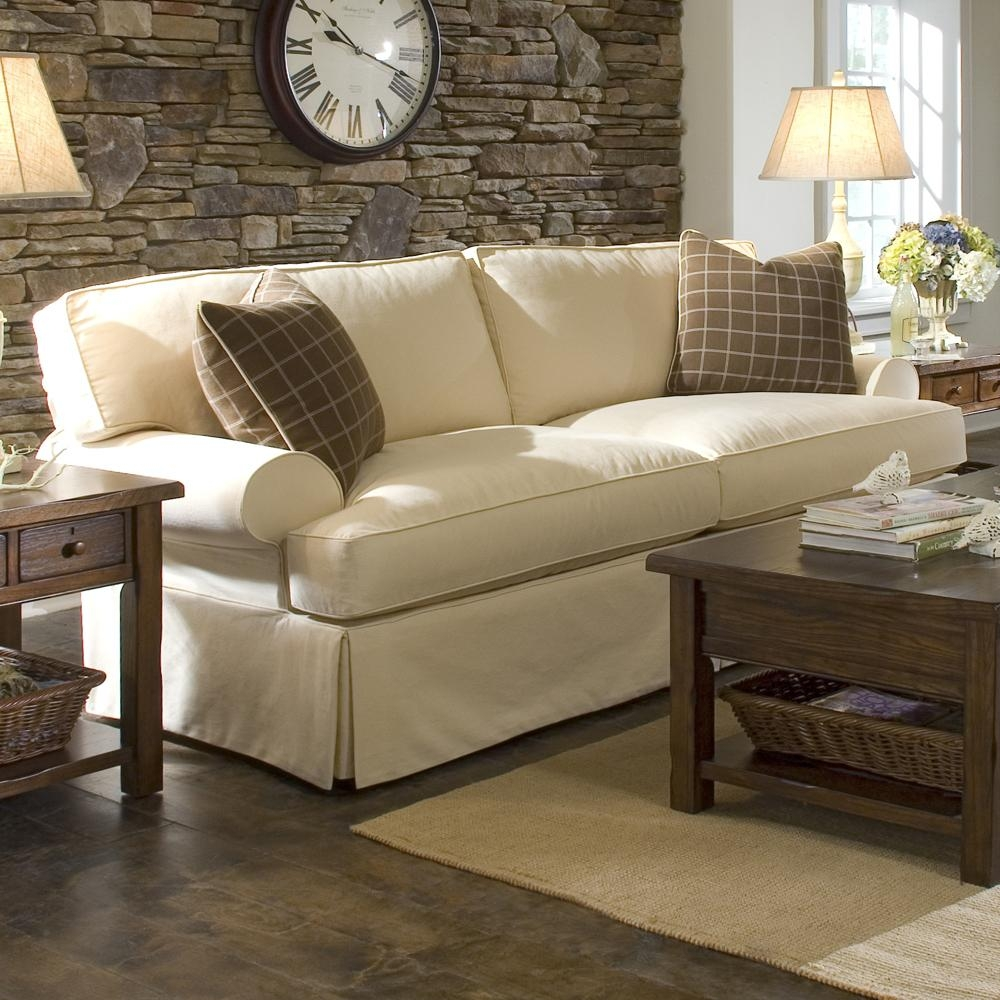 Sofa With Slipcover And Blend Down Cushions Klaussner Wolf For Cottage Style Sofas And Chairs (Image 15 of 15)
