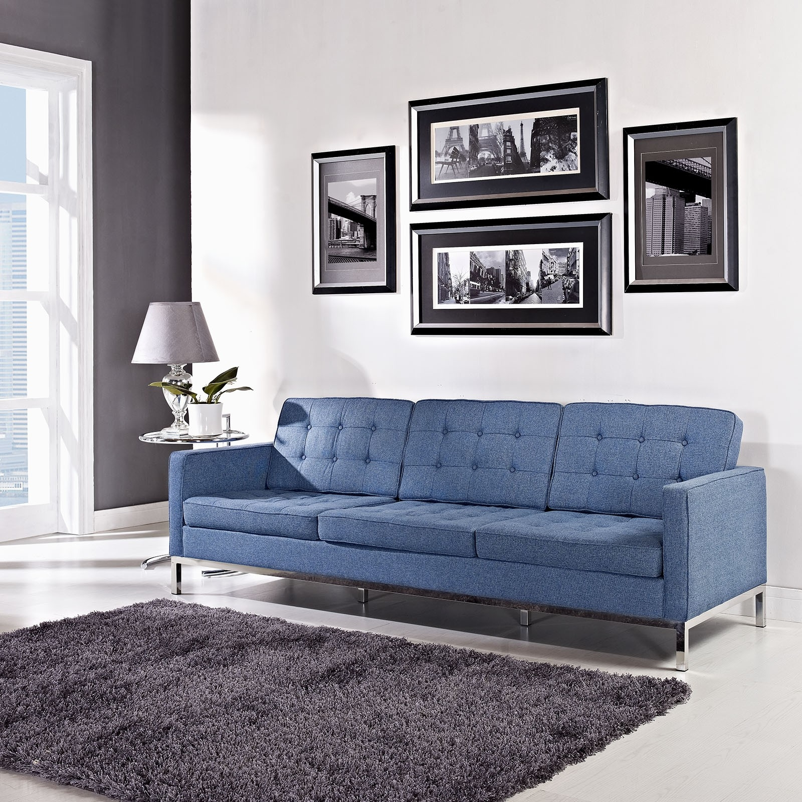 Sofas Center Florence Knoll Sofa Comfort Chaise Reproduction Regarding Florence Medium Sofas (Image 15 of 15)