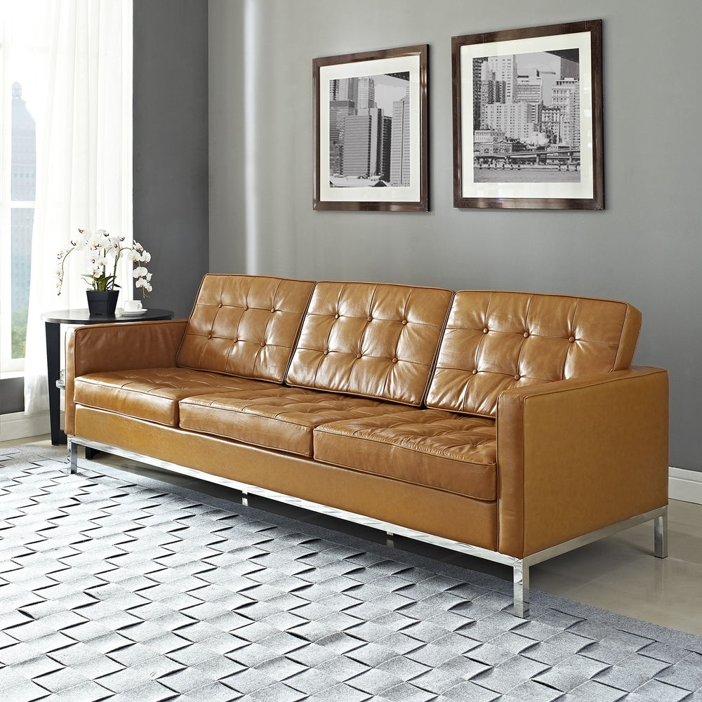 Sofas Center Florence Knoll Sofa Leather And Chrome Plated Steel Pertaining To Florence Knoll Leather Sofas (Image 12 of 15)