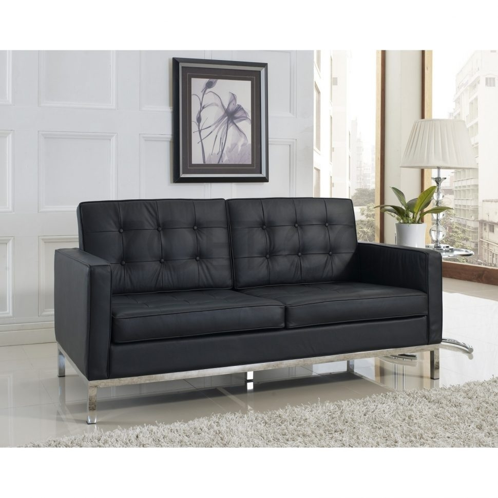 Sofas Center Florence Knoll Sofa Leather And Chrome Plated Steel Pertaining To Florence Large Sofas (Image 13 of 15)