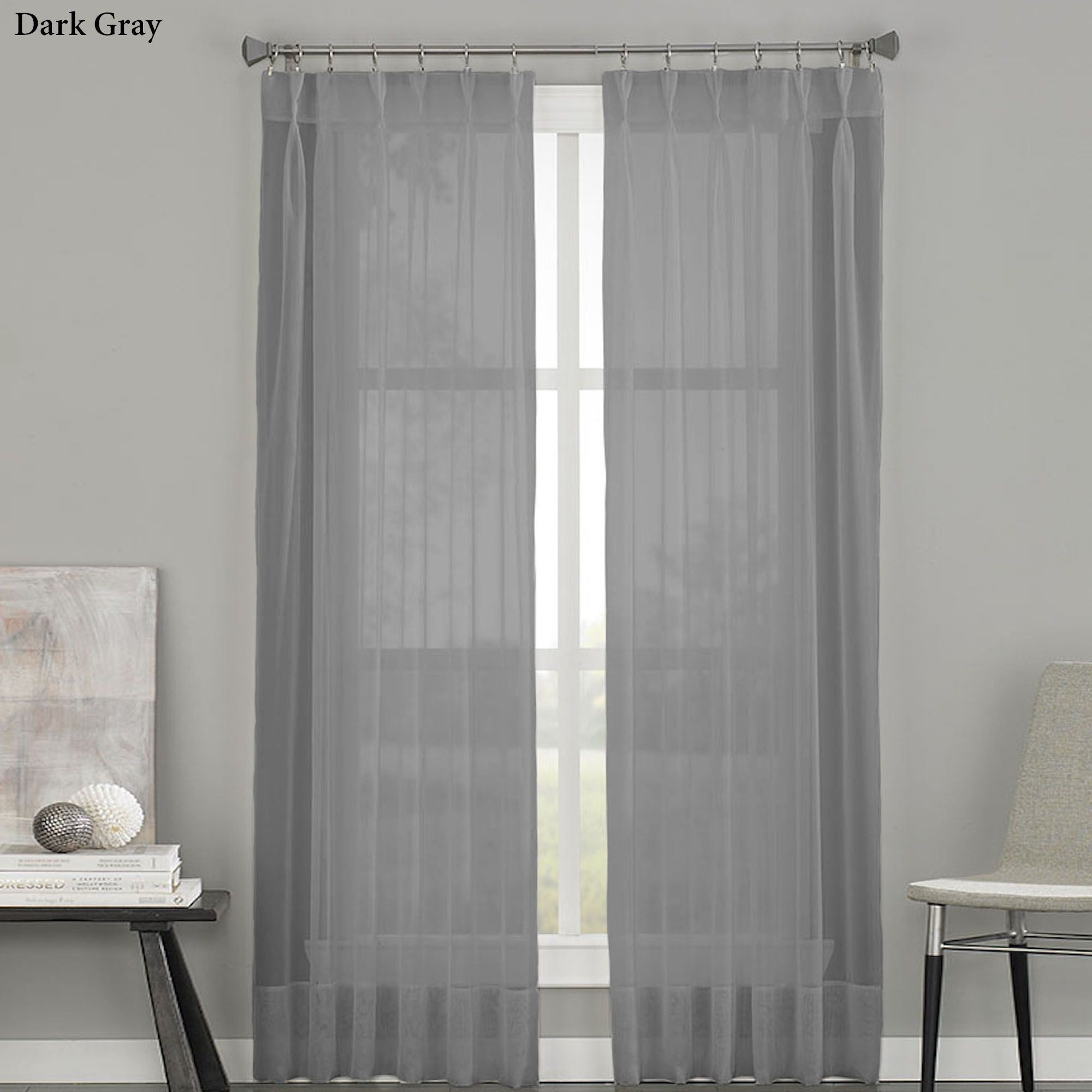 Soho Sheer Voile Pinch Pleat Curtain Panels Intended For Dark Grey Sheer Curtains (Image 24 of 25)