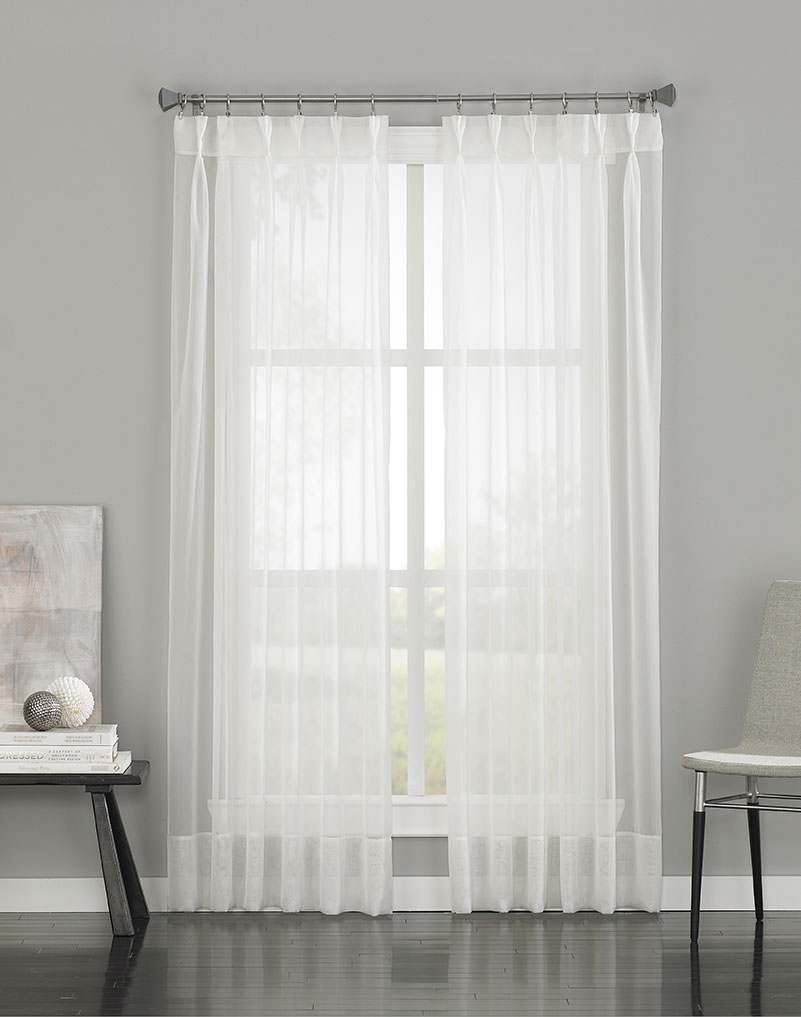 Soho Voile Sheer Pinch Pleat Curtain Panel Curtainworks Regarding Sheer White Curtain Panels (Image 20 of 25)