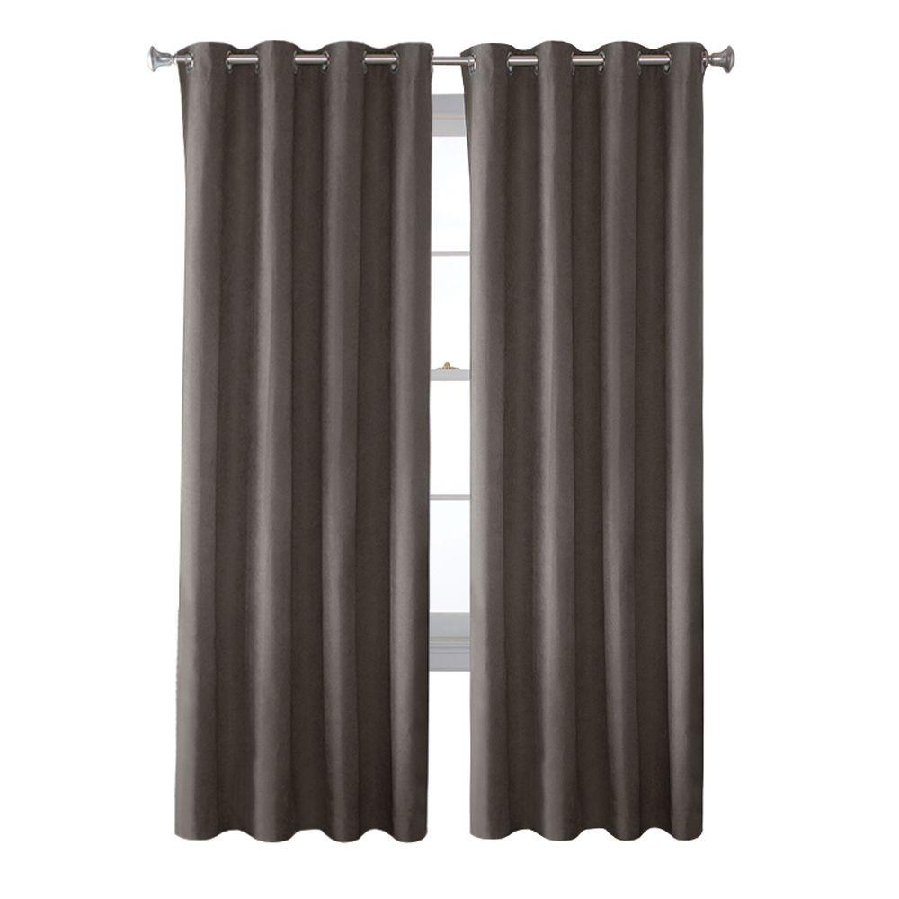 Solaris Grey Faux Suede Grommet Curtain 1 Panel 1627811 The Regarding Faux Suede Curtain Panels (Image 20 of 25)
