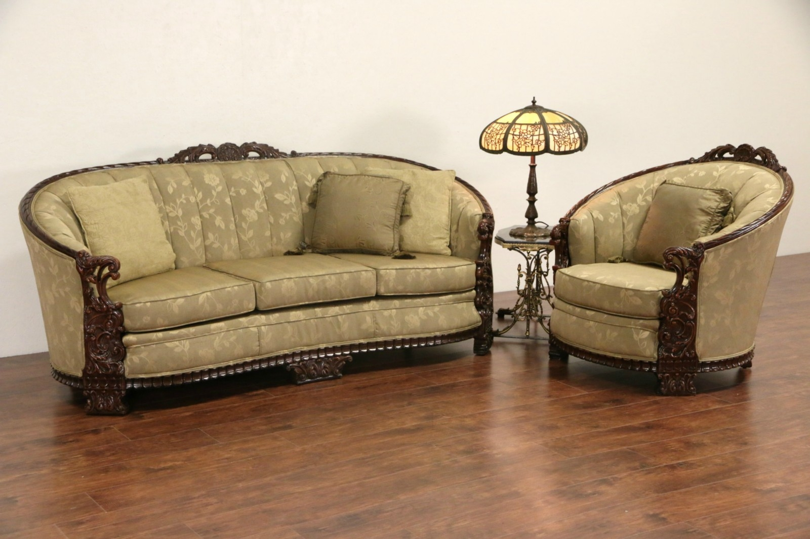 Sold Carved Sofa Club Chair Set 1930s Vintage New Regarding 1930s Couch (Image 10 of 15)