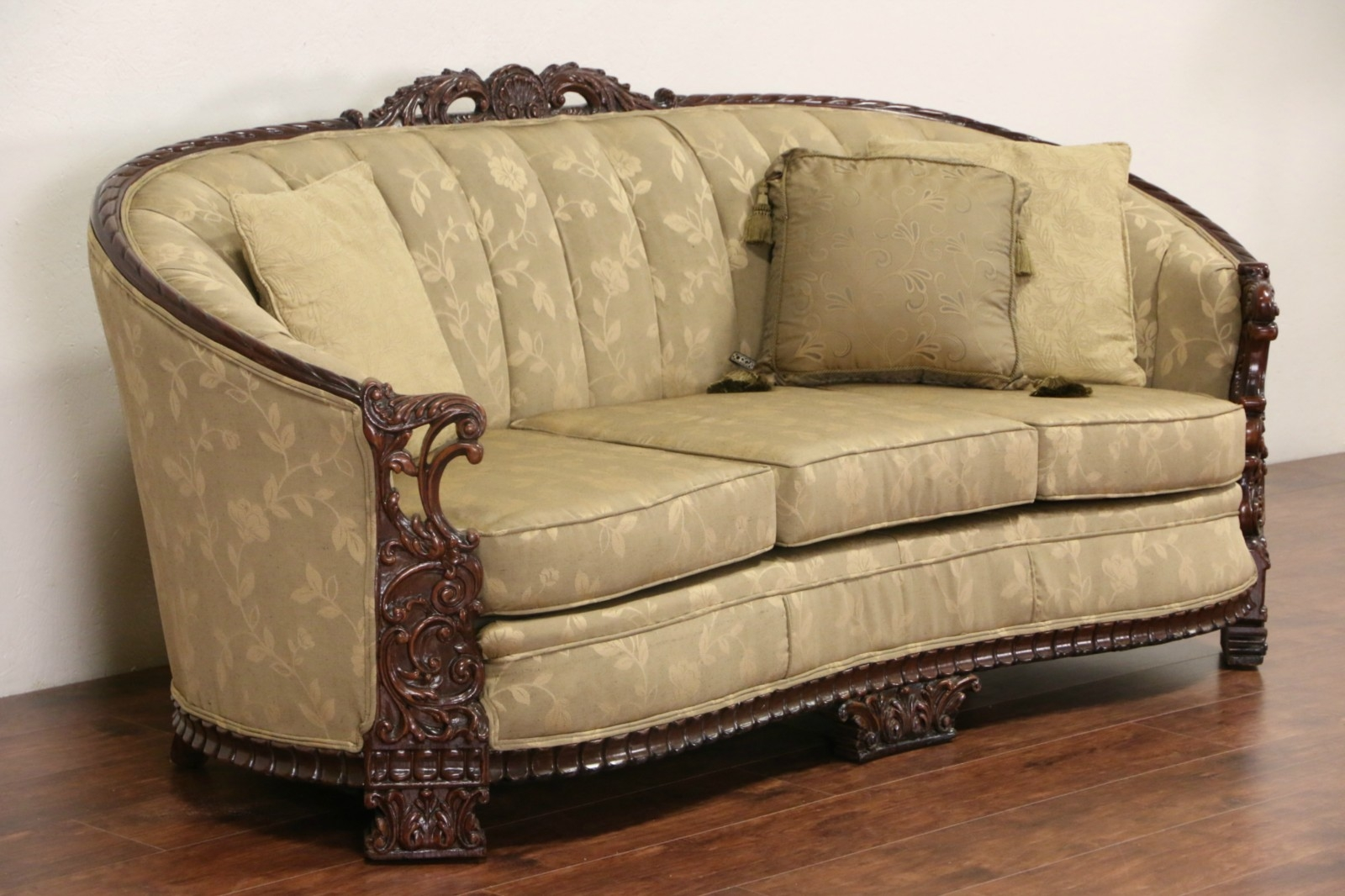 Sold Carved Sofa Club Chair Set 1930s Vintage New Within 1930s Couch (Image 12 of 15)