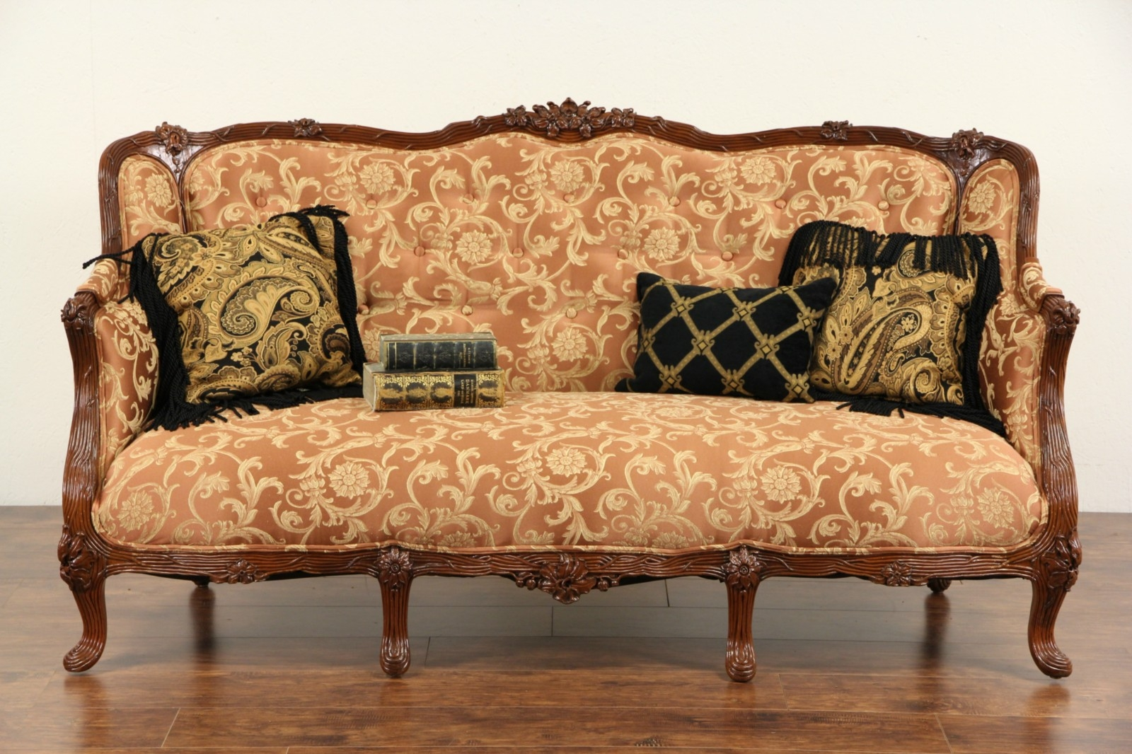 Sold French Style 1930s Carved Vintage Sofa New Upholstery With 1930s Couch (Image 13 of 15)