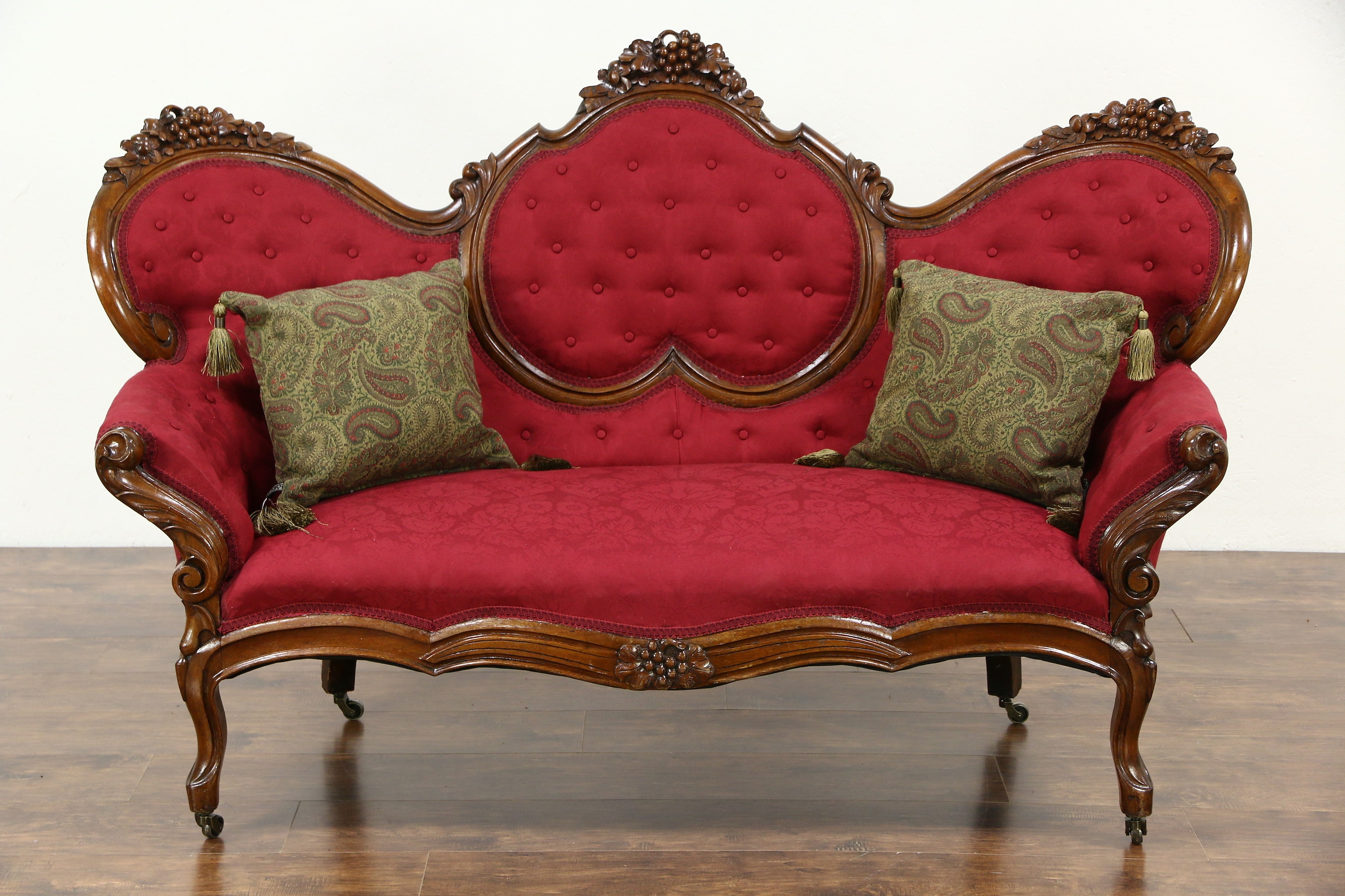 Sold Victorian 1860s Antique Grape Carved Walnut Sofa New Throughout Antique Sofa Chairs (Image 15 of 15)