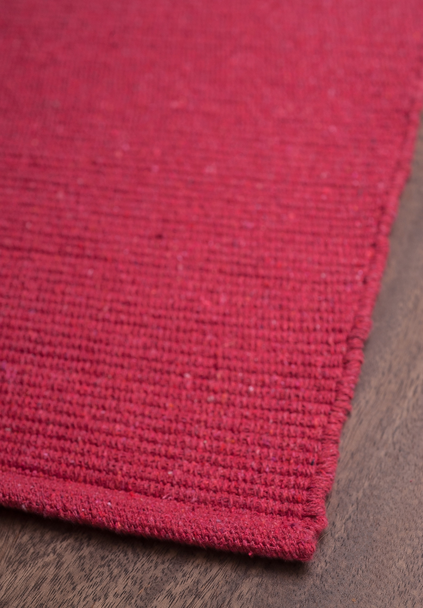 Solid Bright Red Flatweave Eco Cotton Rug Hook Loom With Regard To Red Wool Rugs (Image 14 of 15)