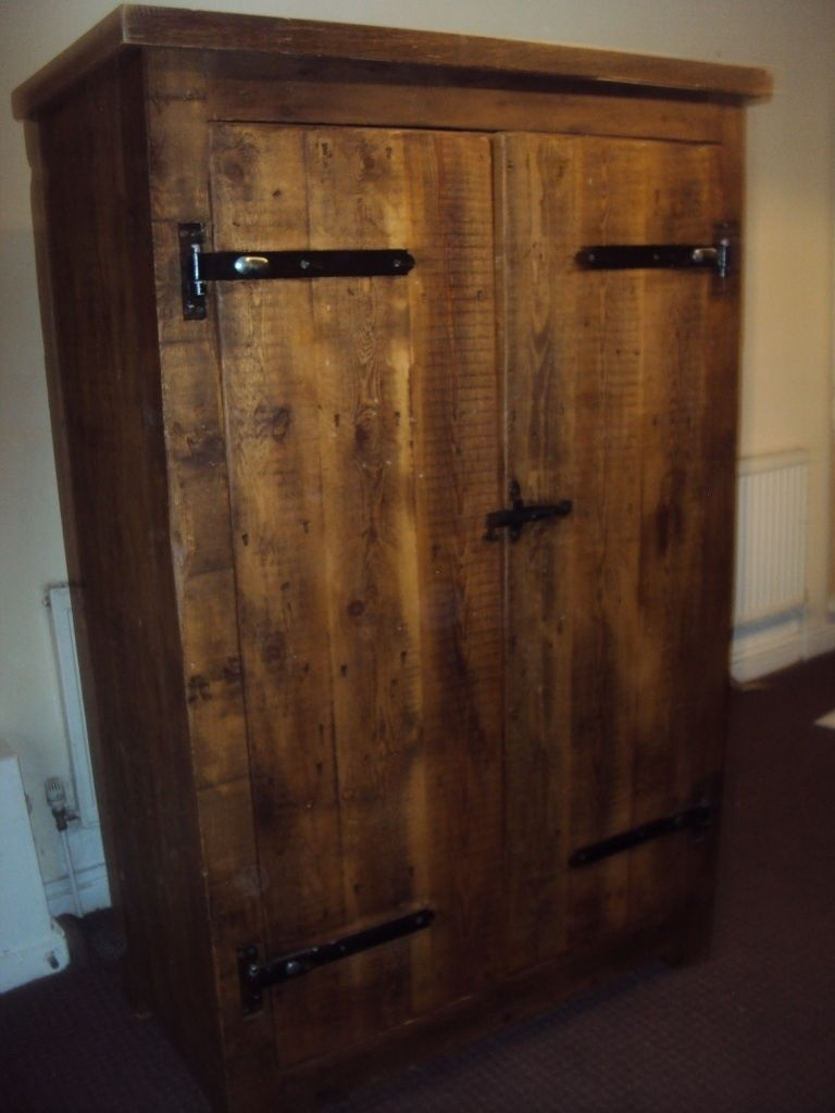 Solid Oak Wardrobe Dark Wood Vintage Antique In Eccles With Dark Wood Wardrobes (Image 14 of 15)
