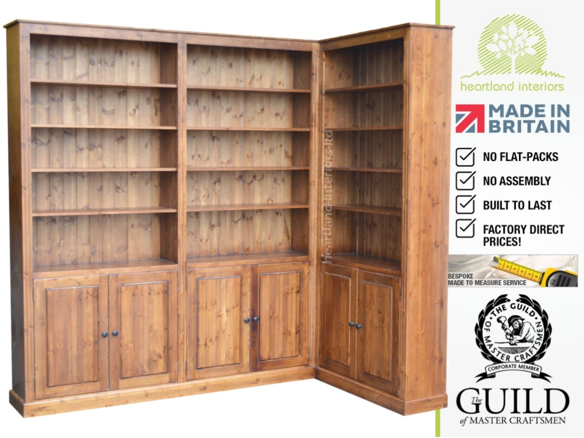 Solid Pine Or Oak 8ft Tall Dresser Bookcase With Cupboards Made In Library Cupboards (Image 10 of 15)