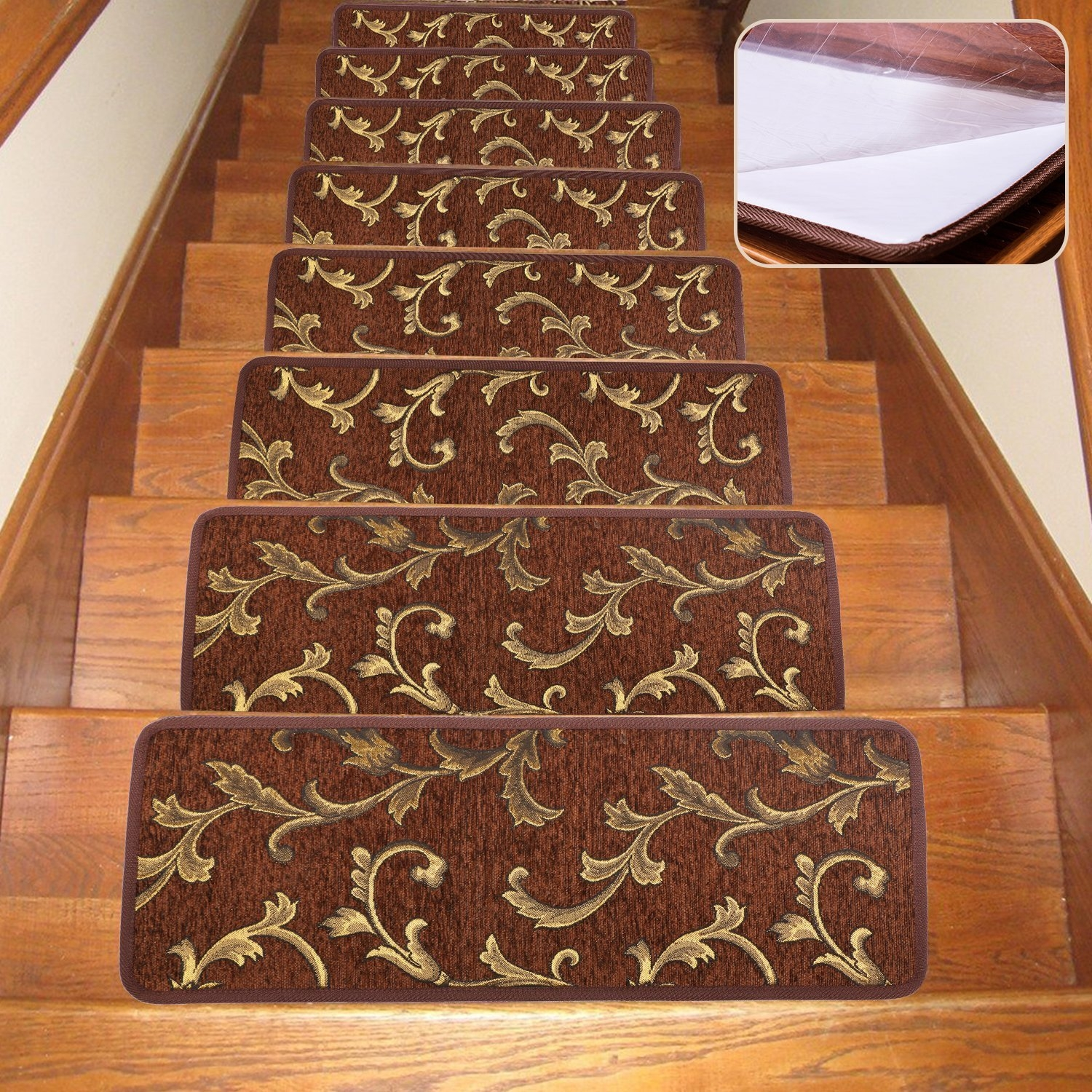 Soloom Non Slip Stair Treads Carpet Indoor Set Of 13 Blended In Rubber Backed Stair Tread Rugs (Image 14 of 15)