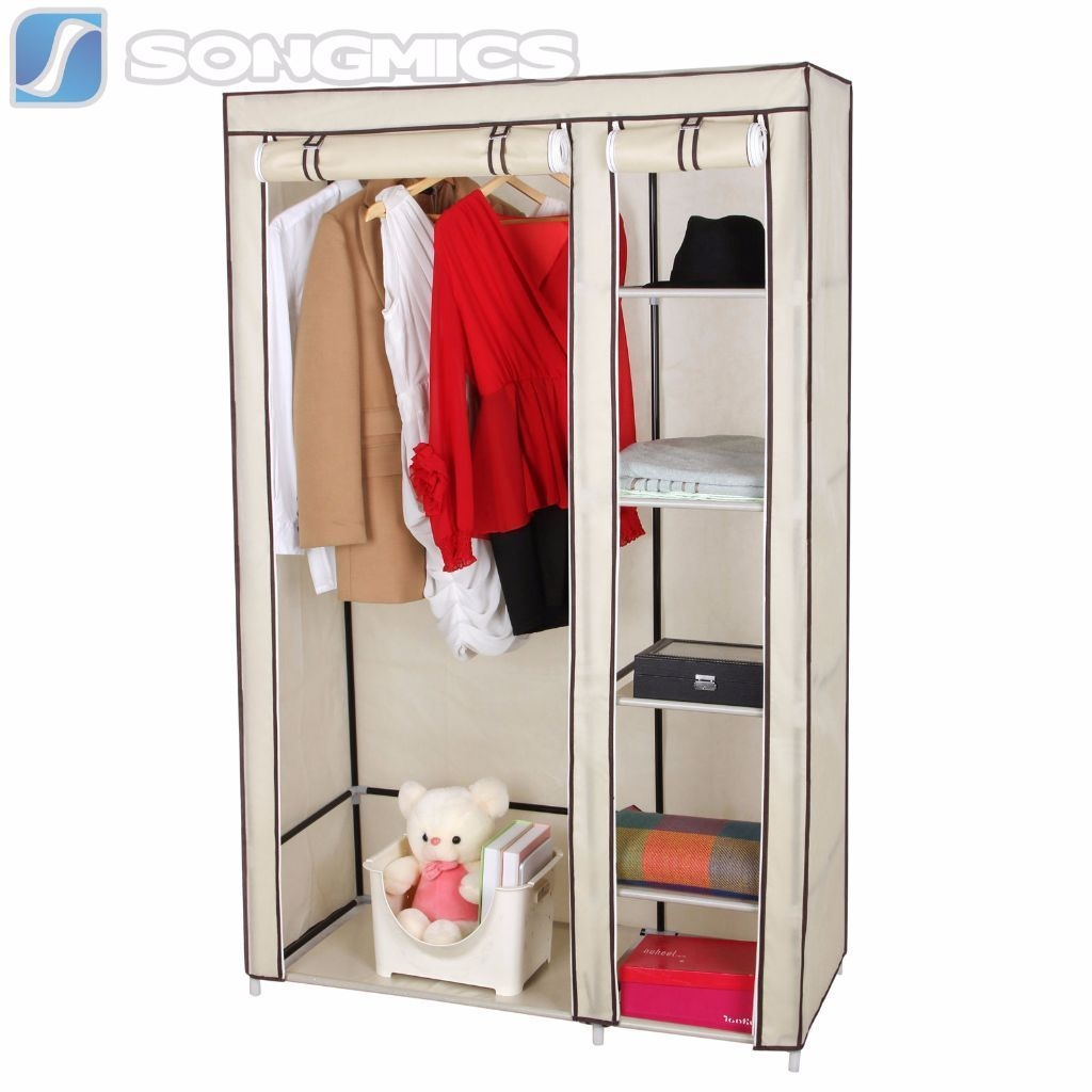 Songmics Double Canvas Wardrobe Clothes Hanging Rail Storage 175 X In Wardrobe Double Hanging Rail (Image 13 of 15)