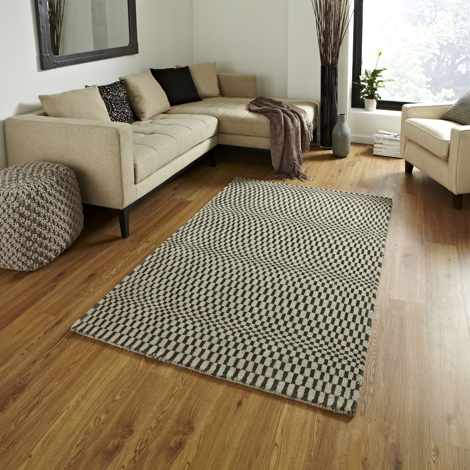 Sonic Wave Effect Optical Illusion Large Floor Mat 100 Wool Hand With Large Floor Rugs (Image 15 of 15)