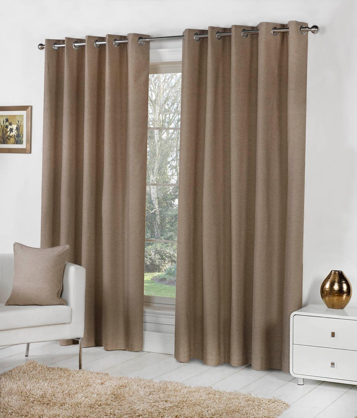 Sorbonne Eyelet Curtains In Taupe Free Uk Delivery Terrys Fabrics Throughout Brown Eyelet Curtains (Image 22 of 25)