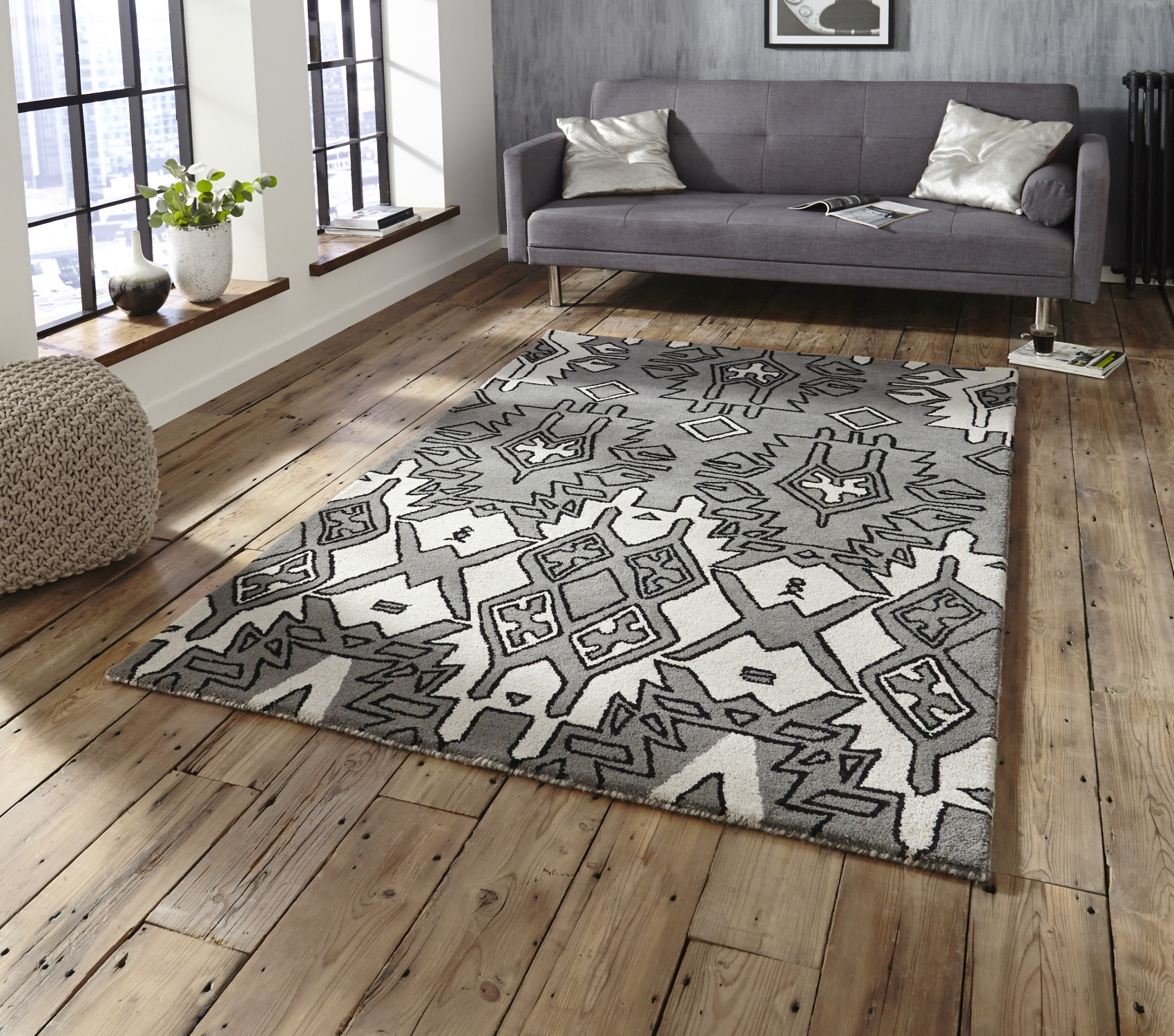 Spectrum Hand Tufted Modern Aztec Style Rug 100 Wool Large Centre Regarding Large Wool Rugs (Image 14 of 15)