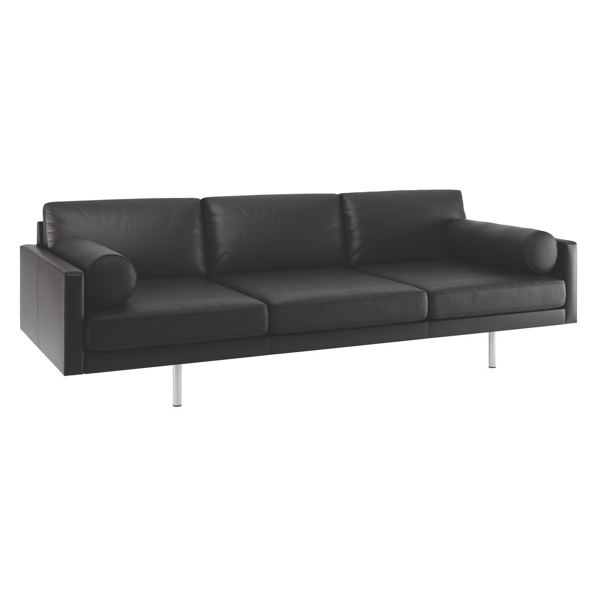 Spencer Black Leather 4 Seater Sofa Metal Legs Buy Now At With Four Seater Sofas (Image 14 of 15)