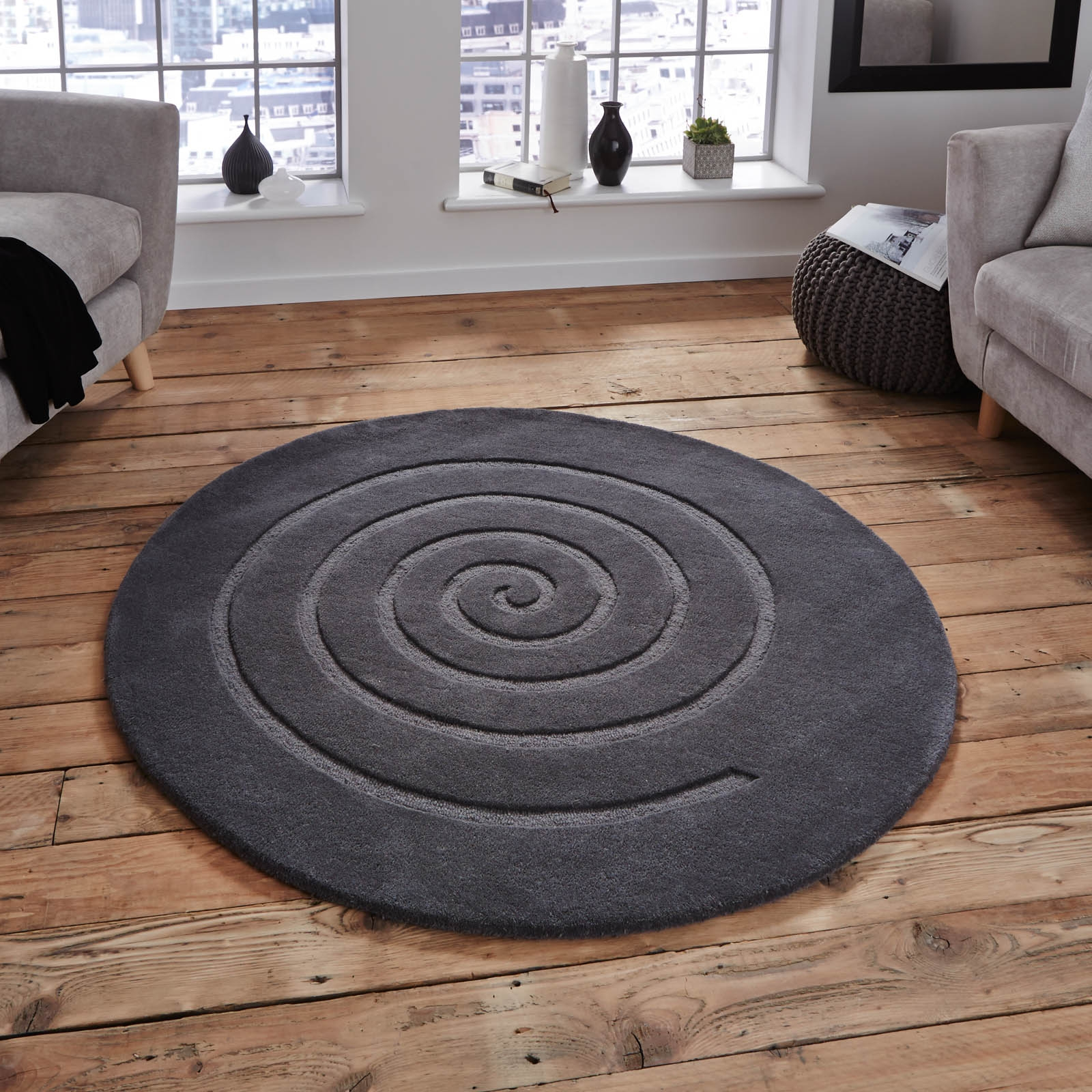 Spiral Circular Wool Rugs In Grey Wool Spirals And The Ojays Throughout Circular Wool Rugs (Image 14 of 15)
