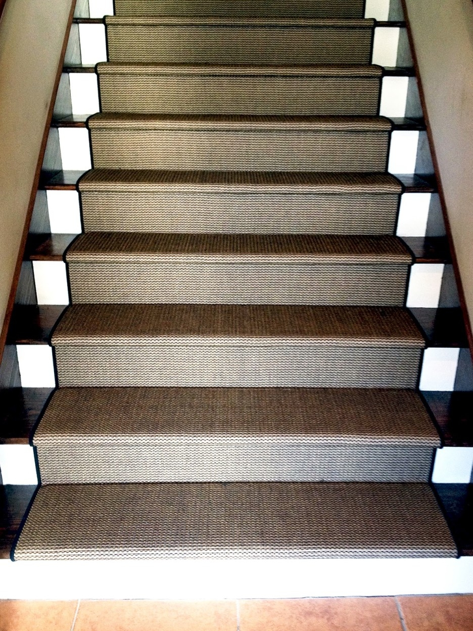 Stair Elegant Straight Stair Design With Dark Treads Combine With With Stair Tread Carpet Tiles (Image 11 of 15)