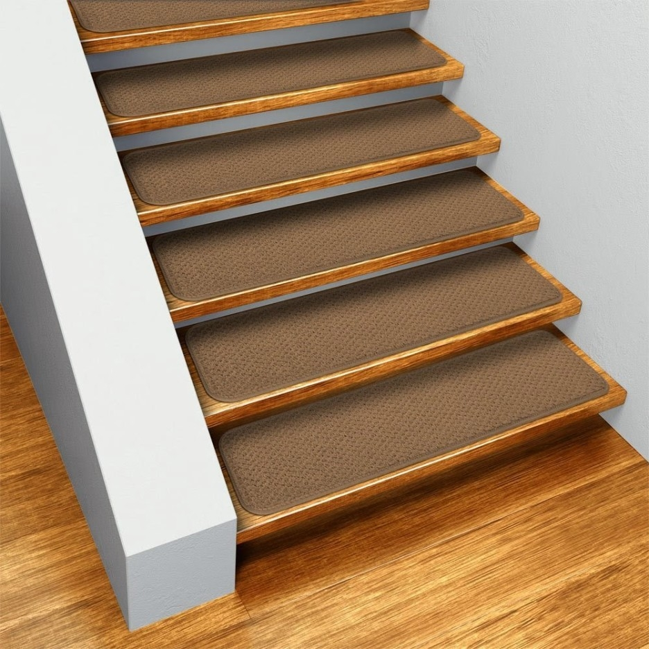 Stair Home Interior Design Idea With Straight Stair Using Brown Pertaining To Brown Stair Treads (Image 10 of 15)