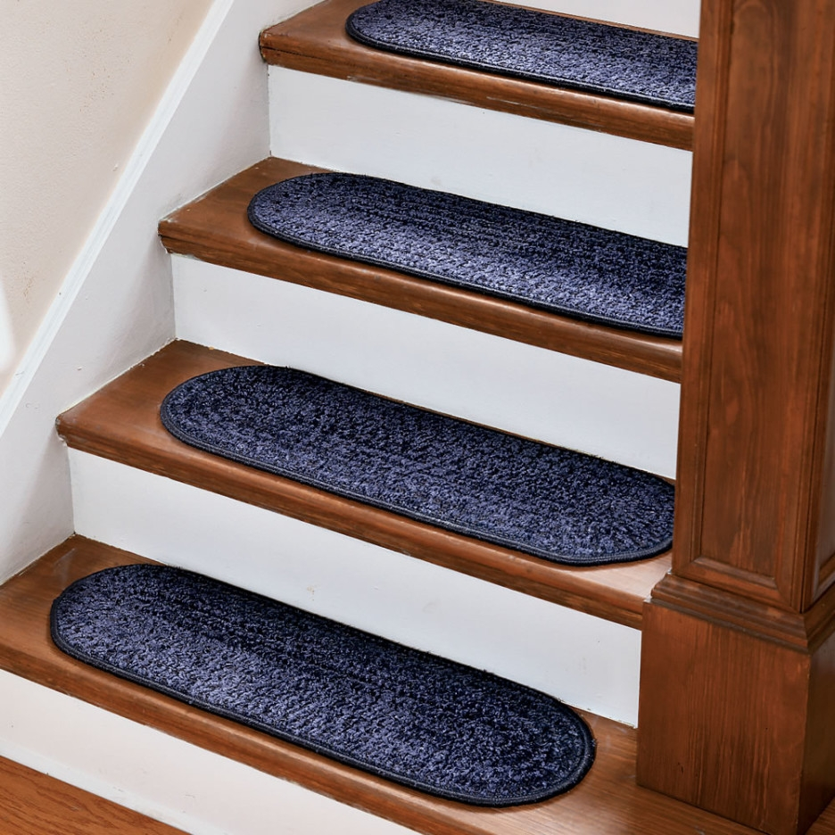 Stair Home Interior Design With Dark Brown Wooden Tread Covers And Pertaining To Wooden Stair Grips (Image 12 of 15)