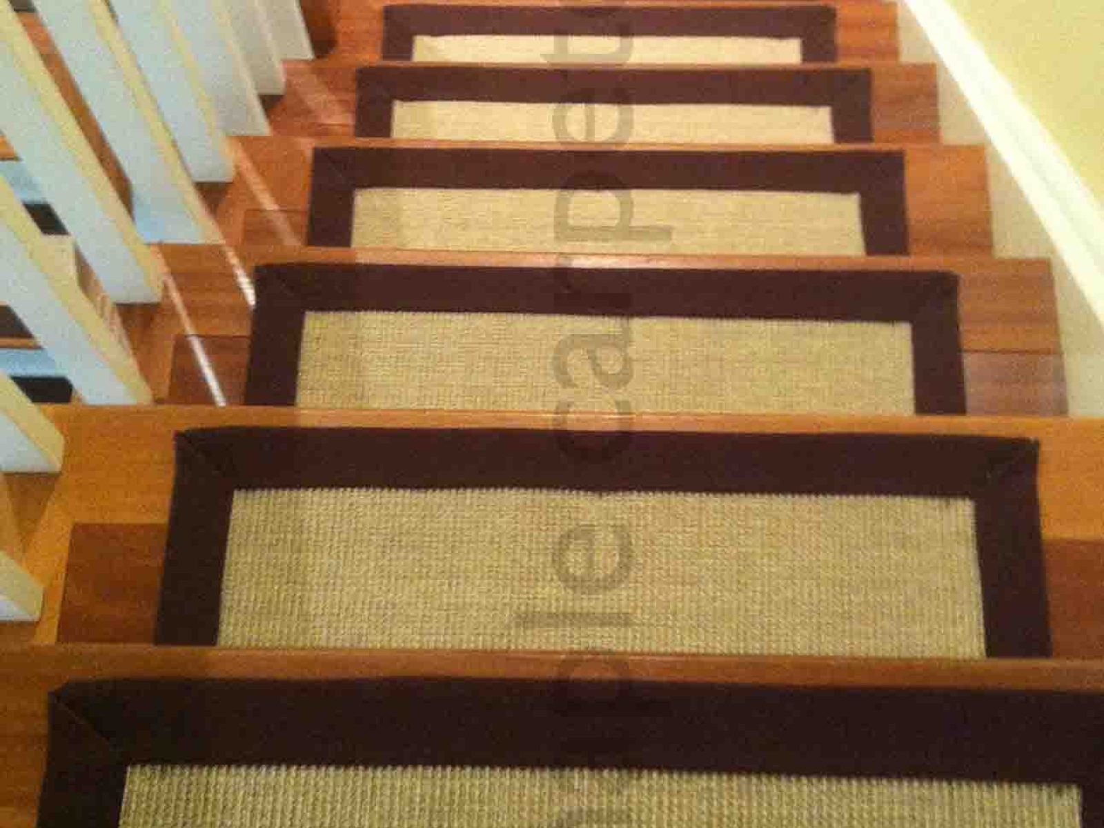 Stair Treads Carpet Set Of 7 Gold Yellow Stair Tread Rugs Modern Inside Wool Carpet Stair Treads (View 9 of 15)