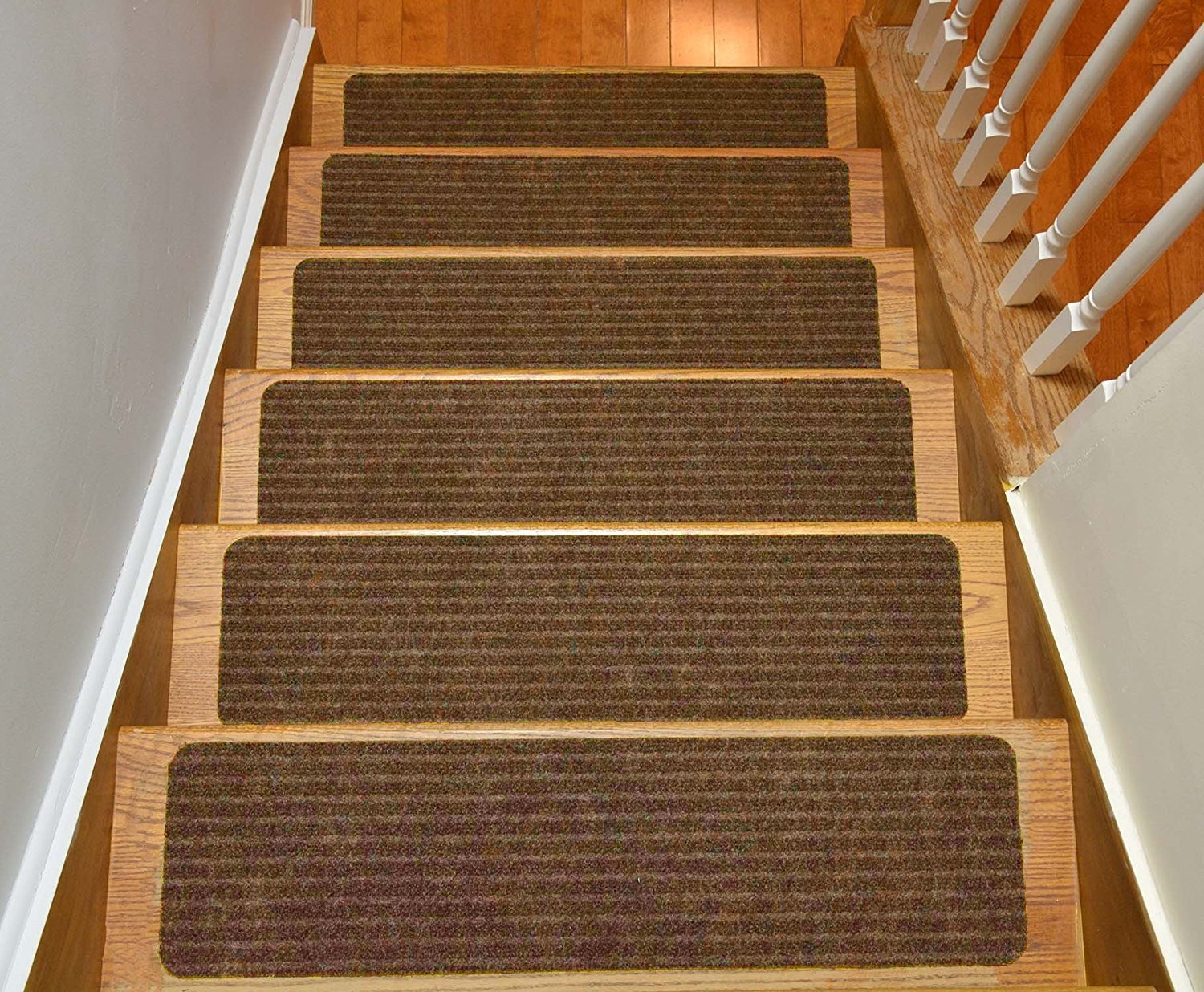 Stair Treads Collection Set Of 13 Indoor Skid Slip Resistant Brown Inside Skid Resistant Stair Treads (Image 14 of 15)