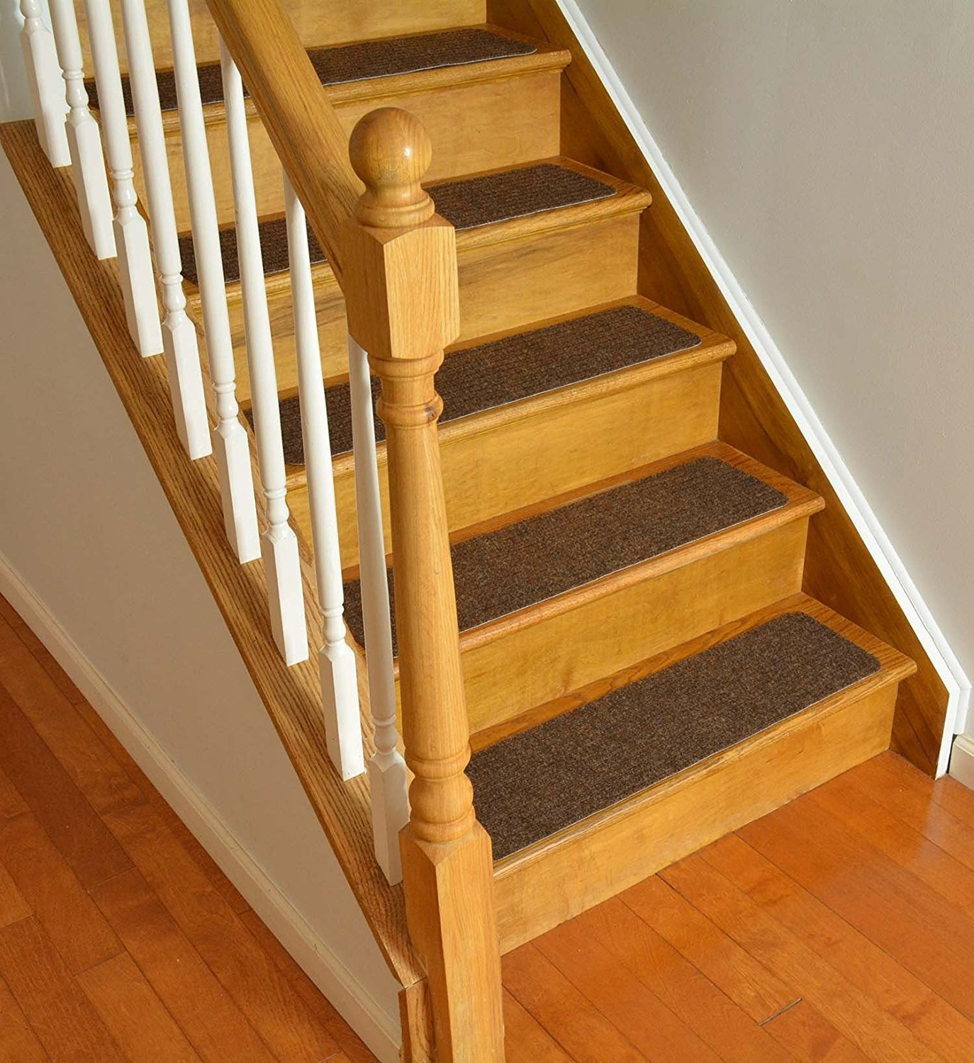 Stair Treads Collection Set Of 13 Indoor Skid Slip Resistant Brown Intended For Skid Resistant Stair Treads (View 7 of 15)
