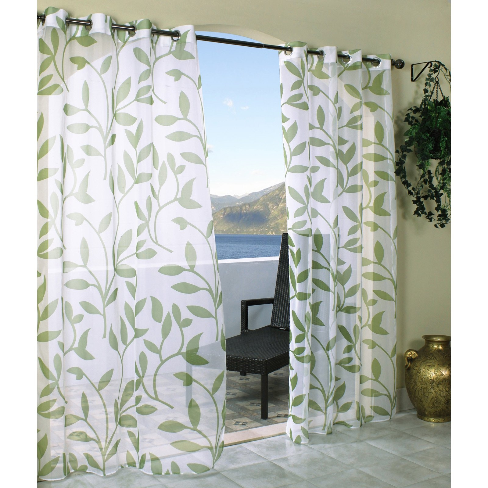 Stealing Sight White Outdoor Curtain Panels With Green Leaf With Pattern Curtain Panels (Image 21 of 25)
