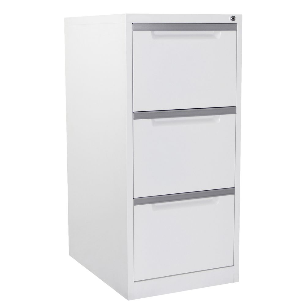 Steelco 3 Drawer Filing Cabinet White Satin Officeworks With Filing Cupboards (Image 24 of 25)