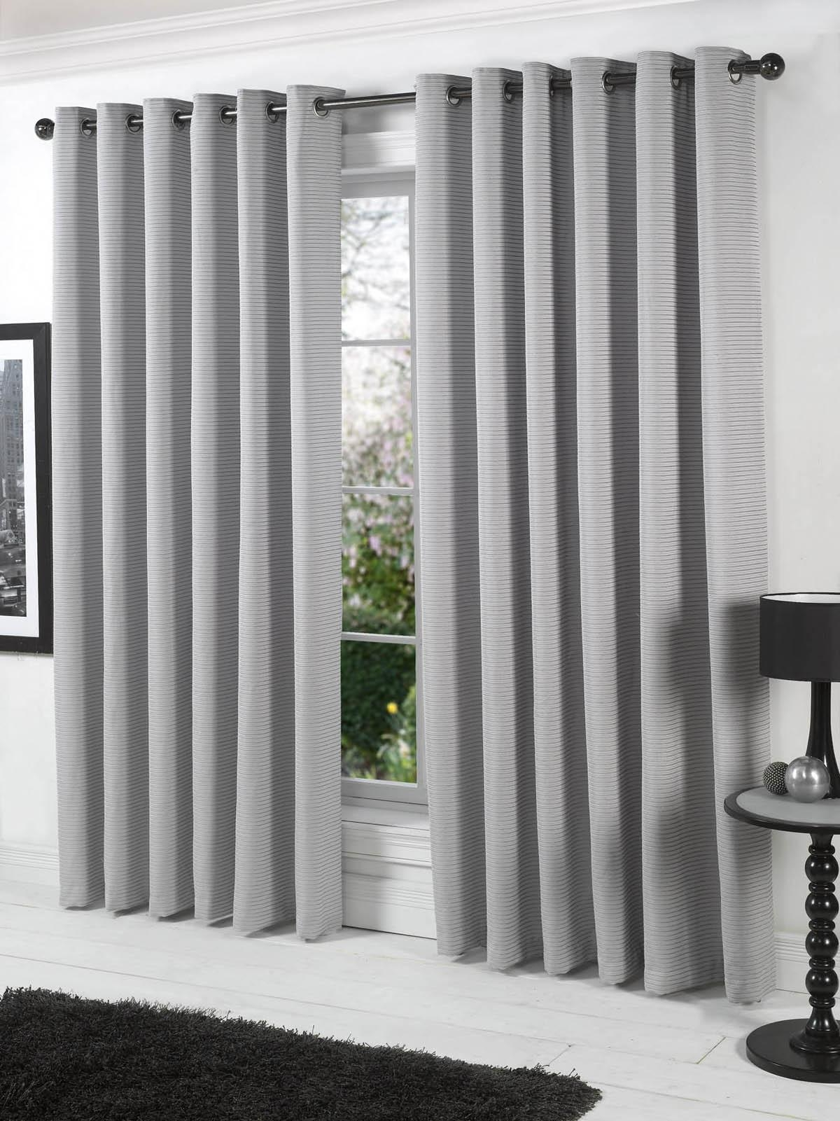 Stella Lined Eyelet Curtains Silver Free Uk Delivery Terrys Intended For Grey Eyelet Curtains (Image 20 of 25)