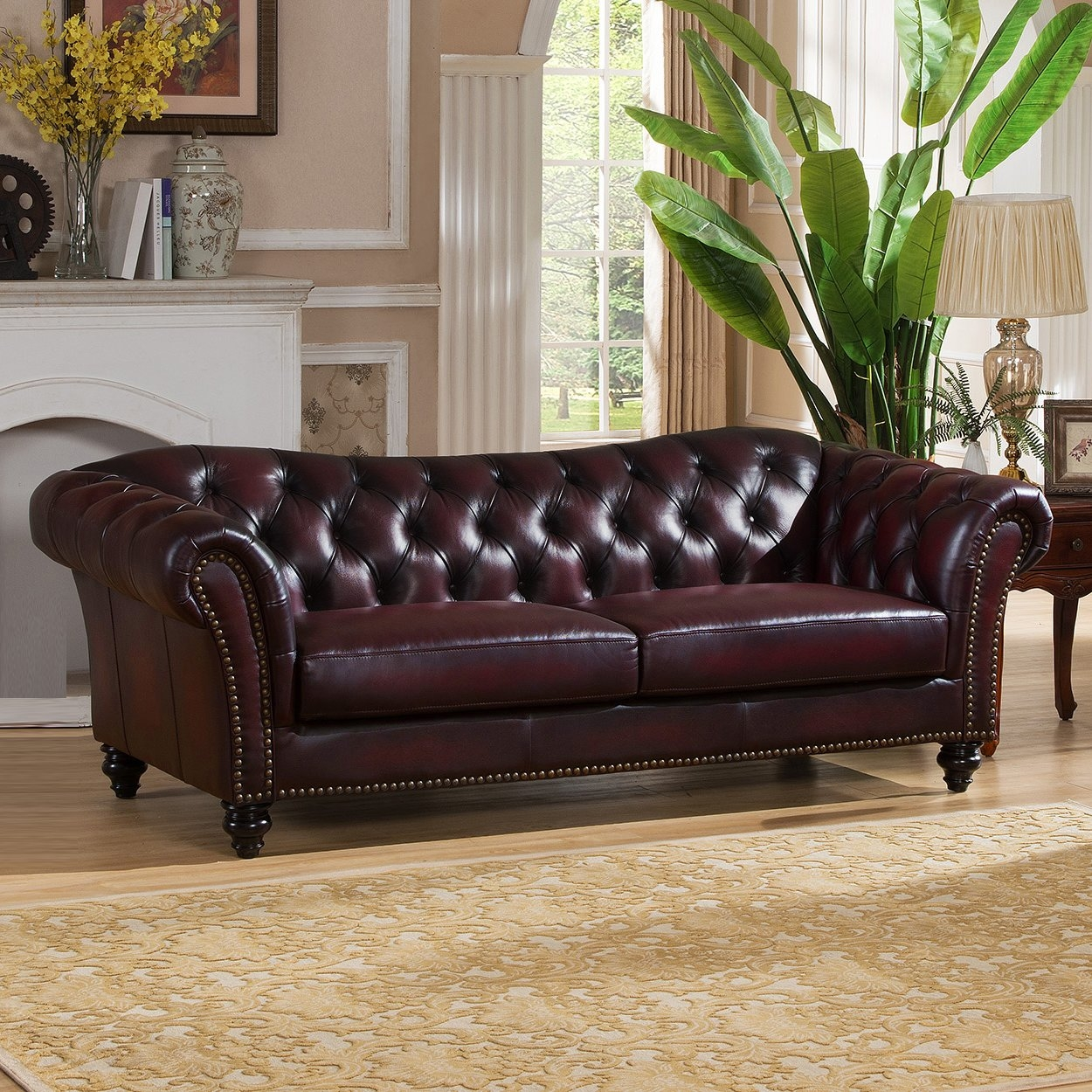 Storage Canterbury Leather Chesterfield Style 3 Seater Sofa Best Regarding Canterbury Leather Sofas (Image 13 of 15)