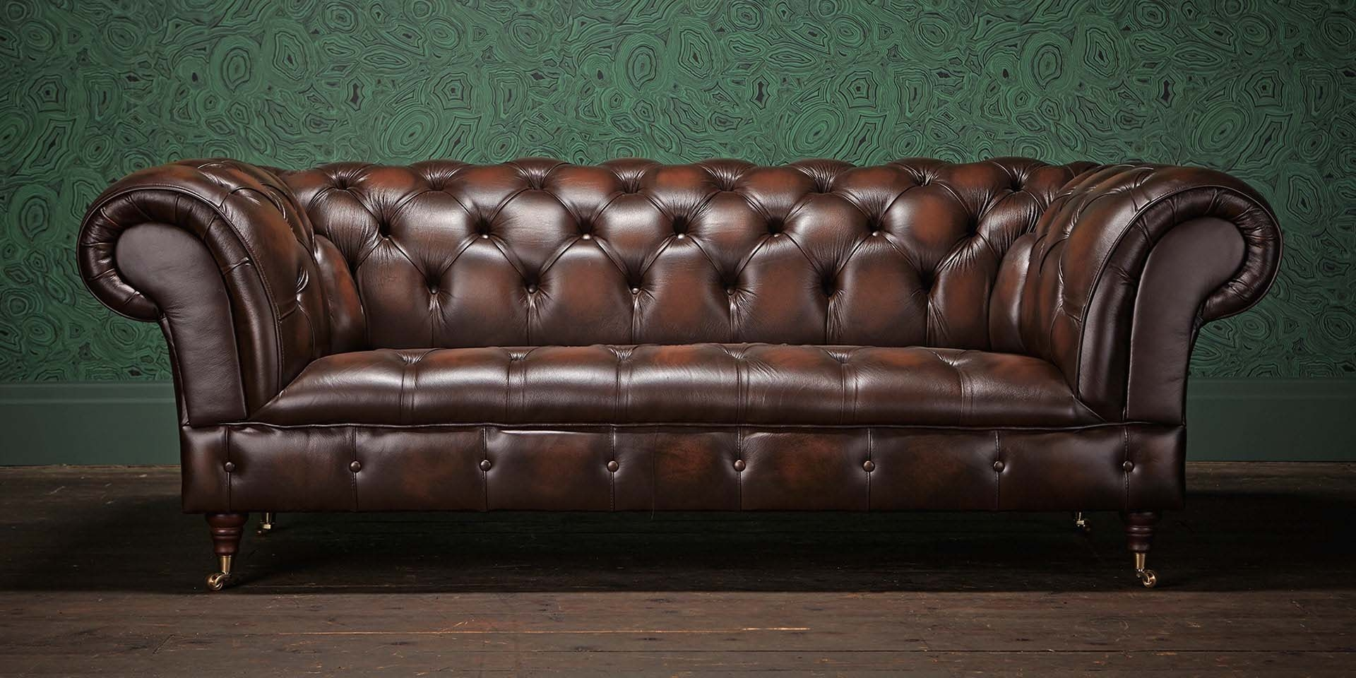 Storage Carnegie Leather Chesterfield Sofa Leather Small Regarding Small Chesterfield Sofas (Image 11 of 15)