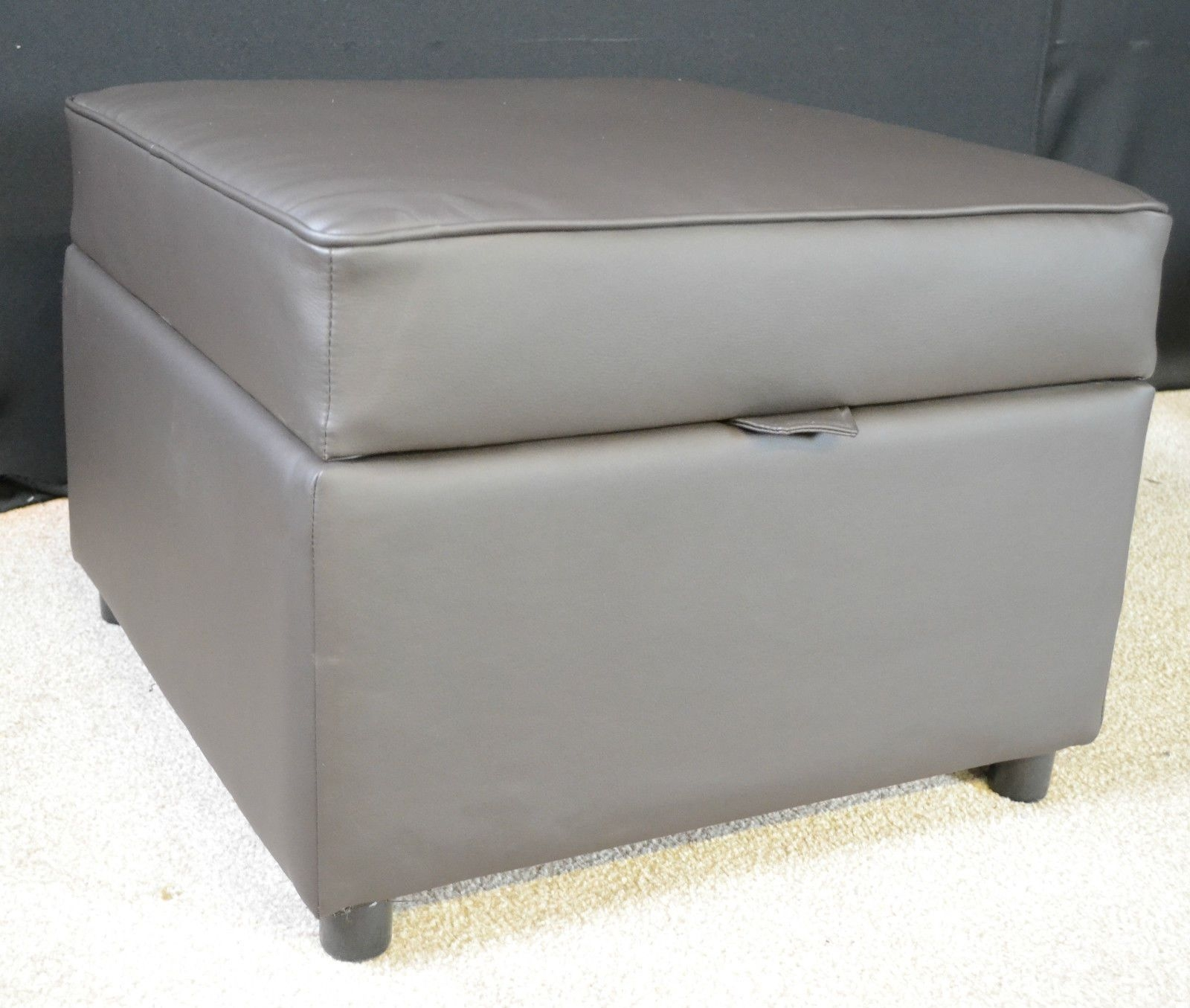 Storage Footstool Pouffe Ottoman Brown Faux Leather Pertaining To Footstools And Pouffes With Storage (Image 11 of 15)