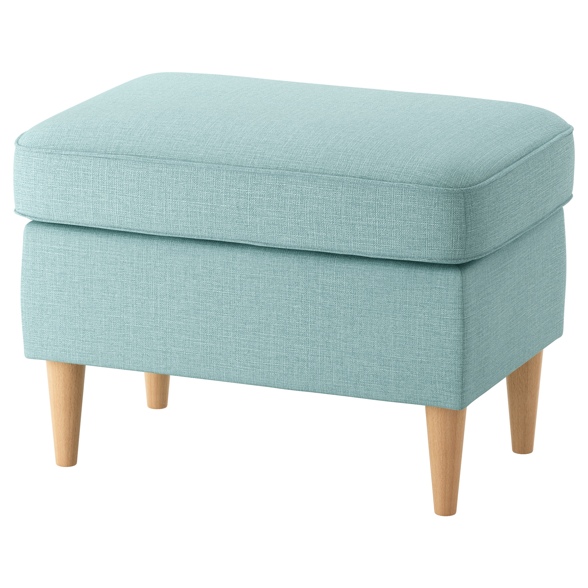Strandmon Footstool Skiftebo Light Turquoise Ikea Within Ikea Footstools And Pouffes (Image 14 of 15)