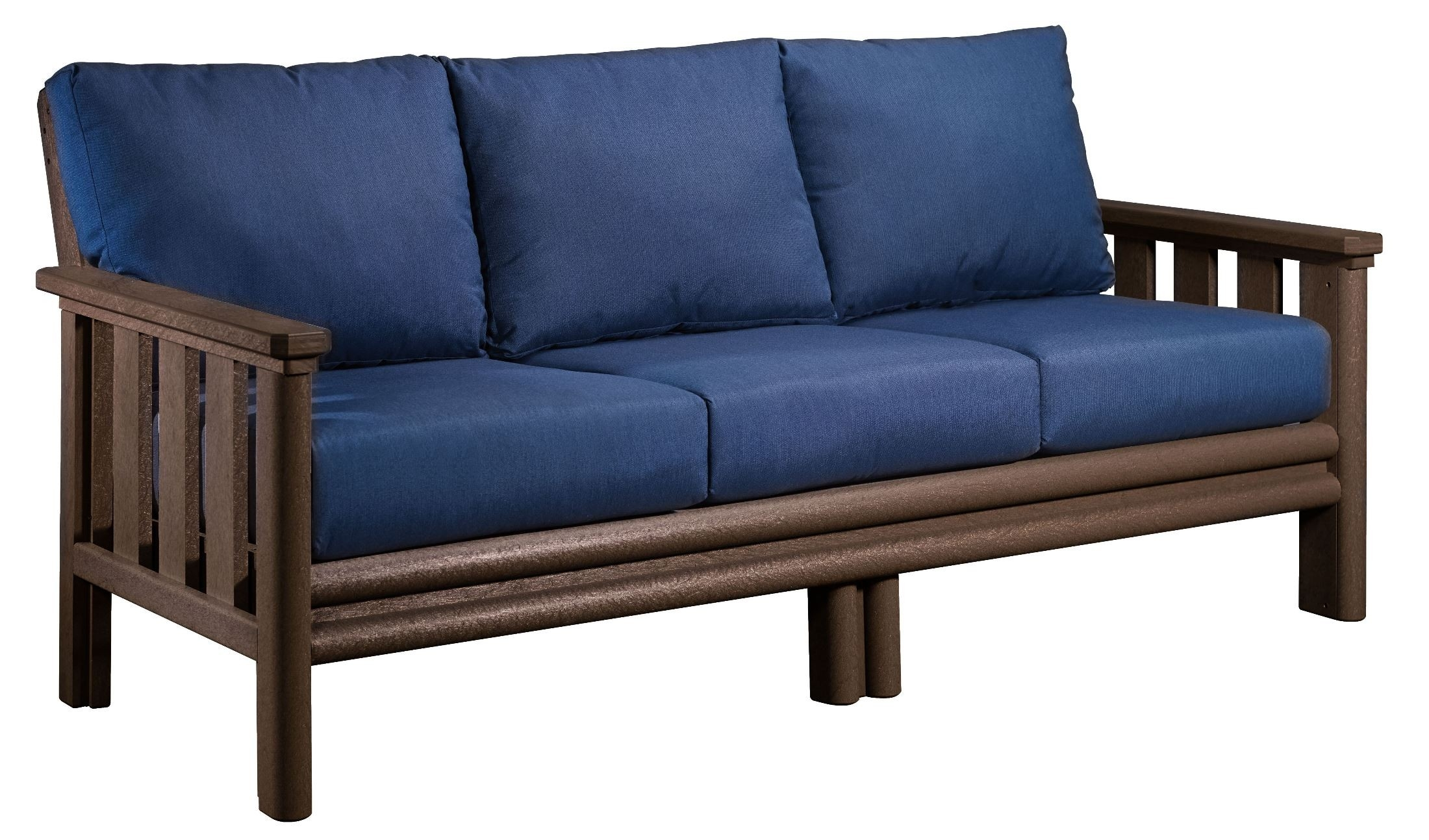 Stratford Chocolate Sofa With Indigo Blue Sunbrella Cushions From With Regard To Stratford Sofas (Image 9 of 15)