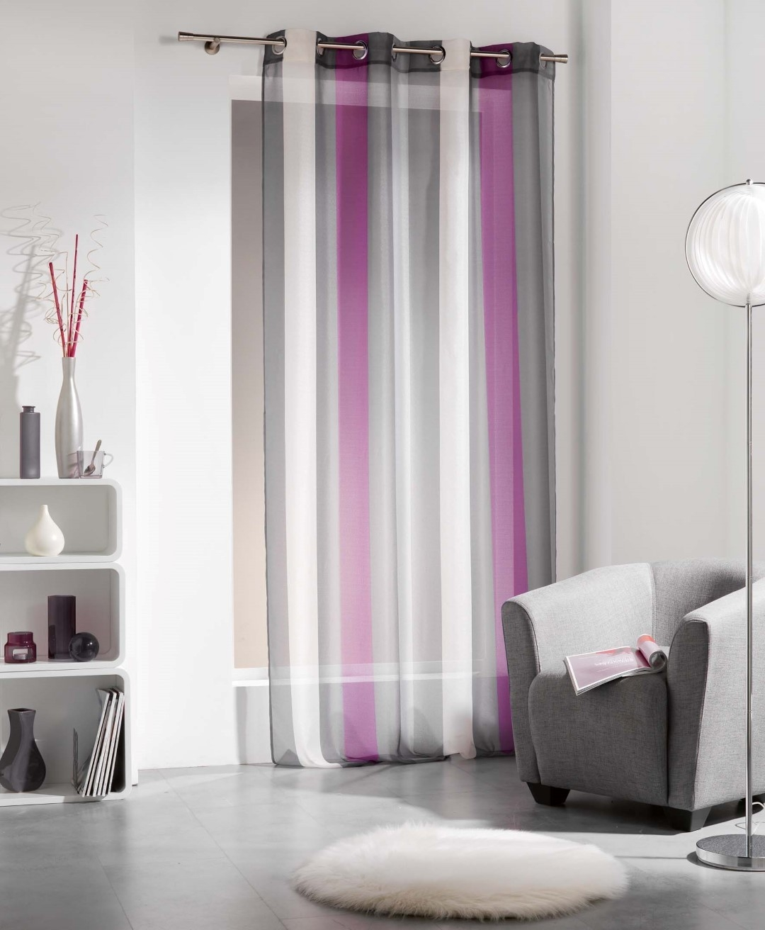 Striped Sheer Curtain Panel Riviera Grommet Purple With Mauve Sheer Curtains (View 19 of 25)
