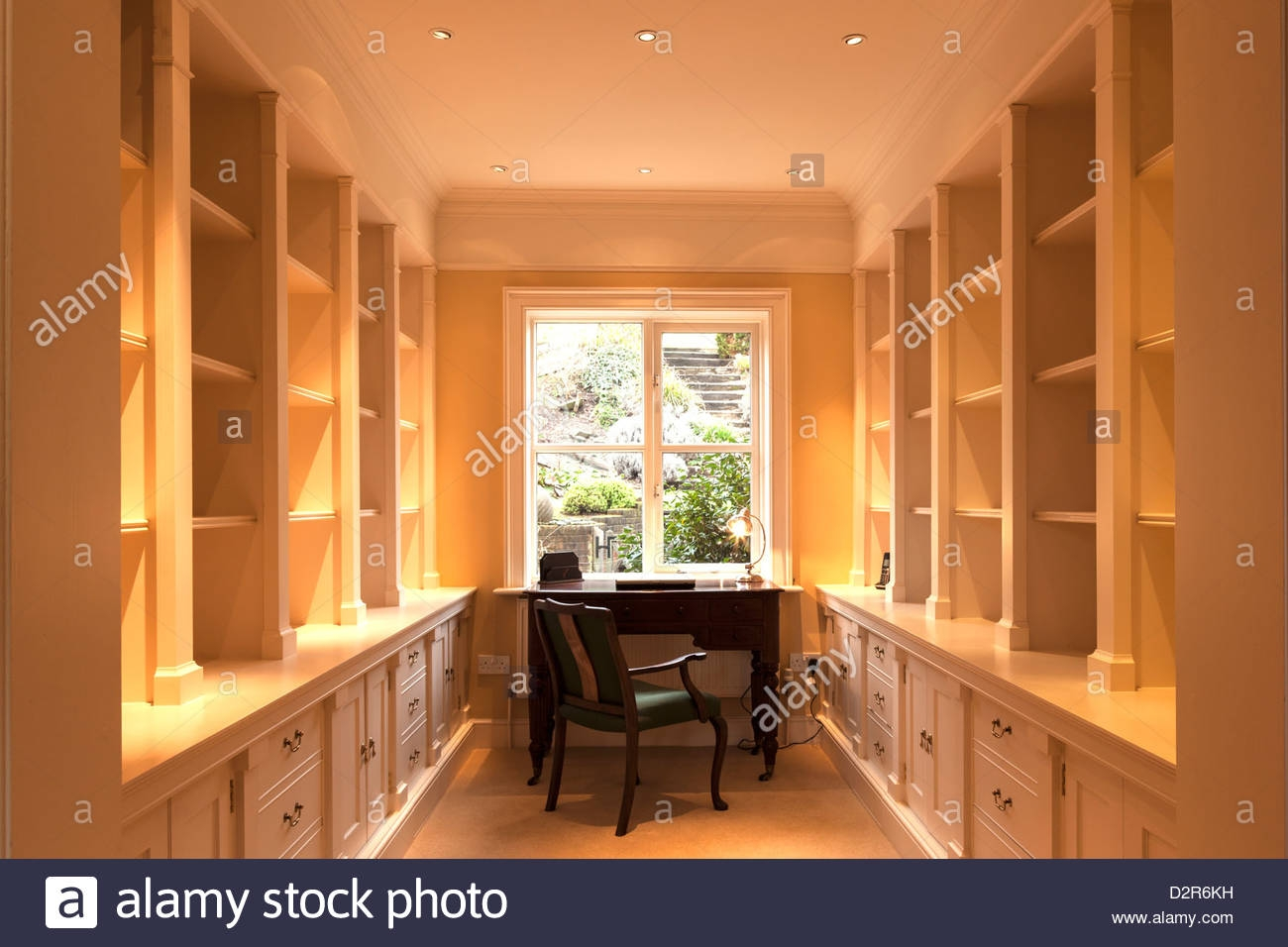 Study Lined With Cupboards And Shelving Stock Photo Royalty Free Throughout Study Cupboards (View 13 of 15)