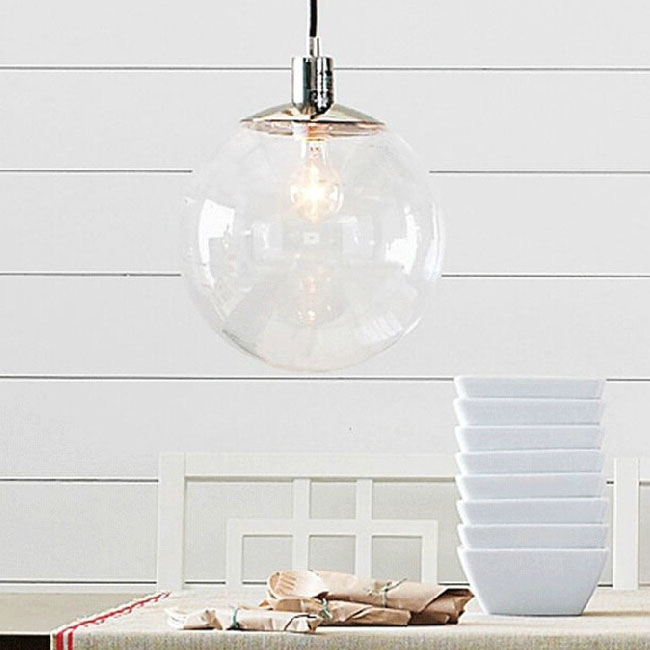 Stunning Brand New Glass Orb Pendant Lights Throughout Modern Country Clear Glass Orb Pendant Lighting In Chrome Finish (Image 21 of 25)