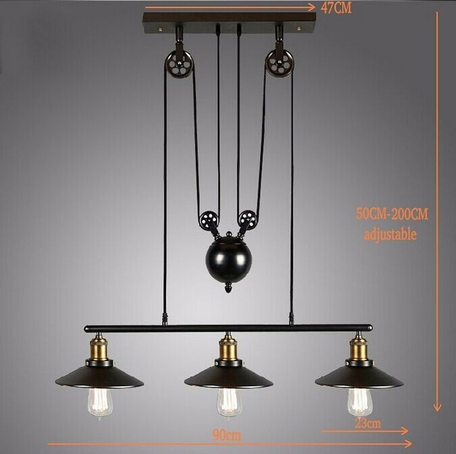 Stunning Common Adjustable Pulley Pendant Lights Inside Aliexpress Buy 2016 Vintage American Country Loft Edison (Image 22 of 25)