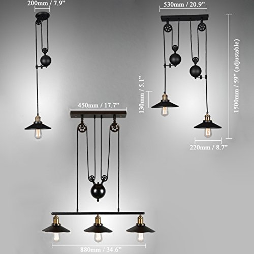 Stunning Deluxe Pull Down Pendant Lights Inside Tray Adjustable Height Pulldown Island Pendant Light Ceiling Lamp (View 21 of 25)