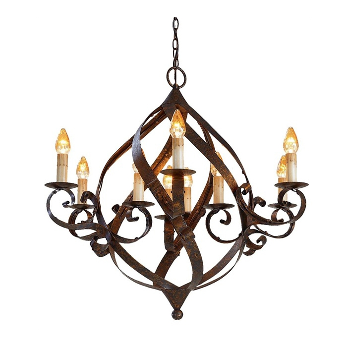 Stunning Deluxe Wrought Iron Lights Regarding Hand Forged Signed Custom Wrought Iron Chandelier Home Of (View 5 of 25)