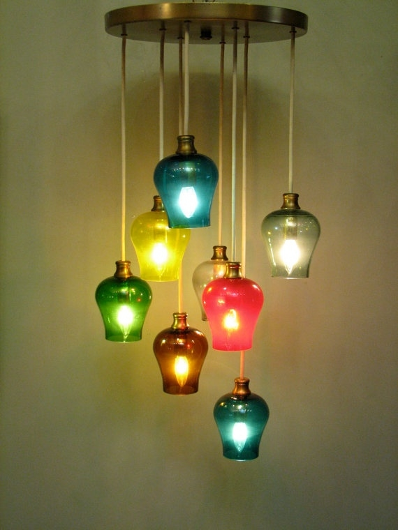Stunning Elite Multi Coloured Pendant Lights For 111 Best Vintage Lighting Mcm Swags Pendants Lamps Images On (View 12 of 25)