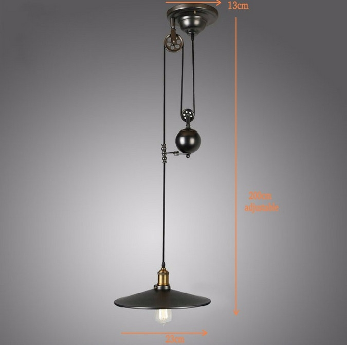 Stunning Famous Pulley Pendant Lights Intended For 3 Lights Black Color Loft Vintage Pulley Pendant Lamp Dinning Room (Image 22 of 25)