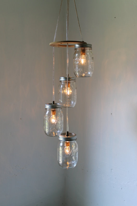 Stunning Latest Mason Jar Pendant Lamps Regarding Spiral Mason Jar Chandelier Rustic Hanging Mason Jar Pendant (Photo 14 of 25)