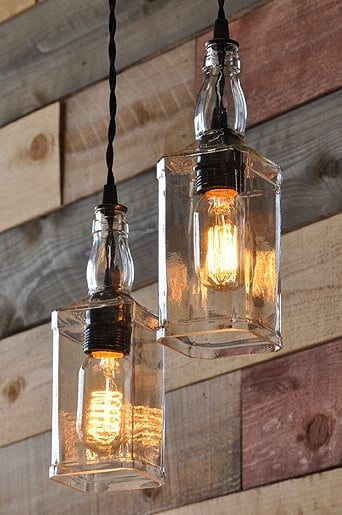 Stunning New Liquor Bottle Pendant Lights Intended For Whiskey Bottle Lights With Vintage Pulley Id Lights (Photo 2 of 25)