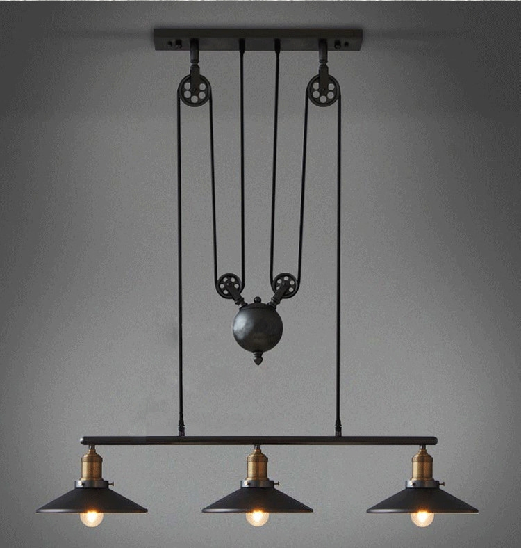 Stunning Popular Double Pulley Pendant Lights With Regard To Loft Vintage Retro Iron Black Chandelier Industrial Pulley (Image 19 of 25)